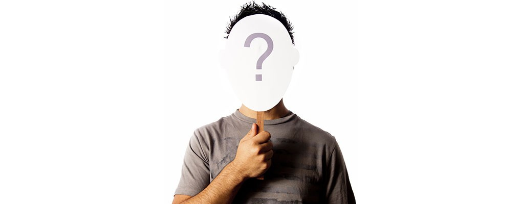 Man sign over face with question mark