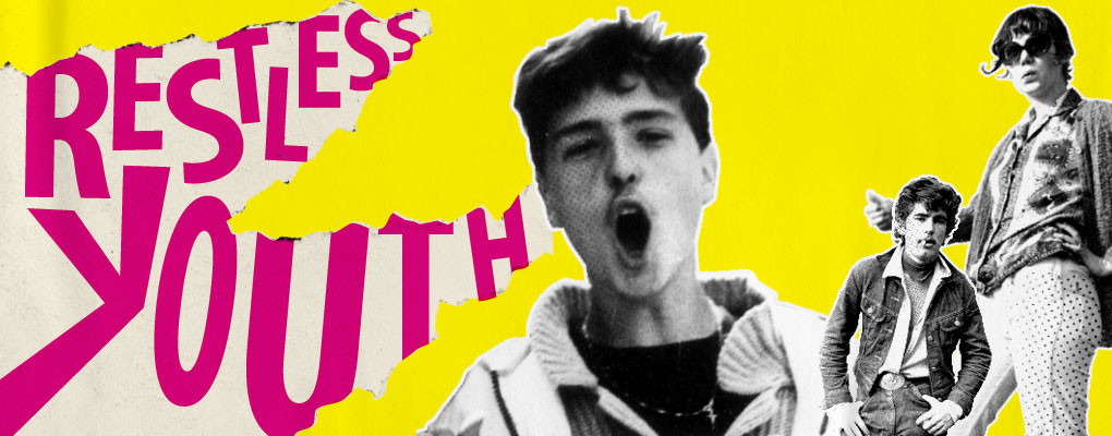 Yellow poster with black and white images of young people