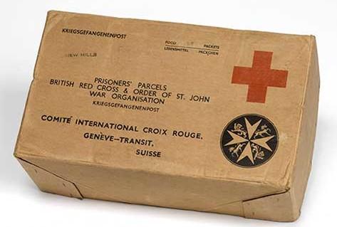Red cross parcel cardboard for prisoner