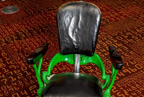 Green black dentist chair 1950s