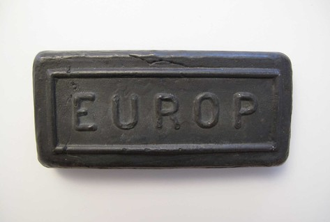 Dark grey iron ingot branded EUROP