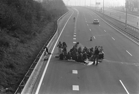 Black white photo young people party motorway