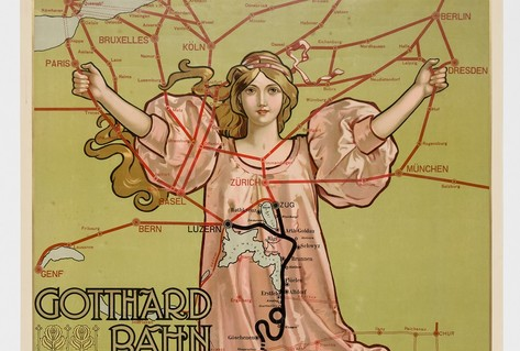 Poster woman route Northern Europe to Italy via Gotthard railway