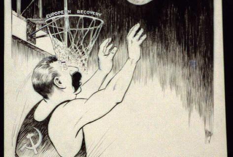 Cartoon Stalin basketball blocking ball