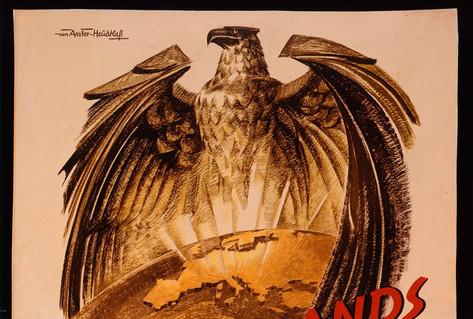Poster eagle hovering over world