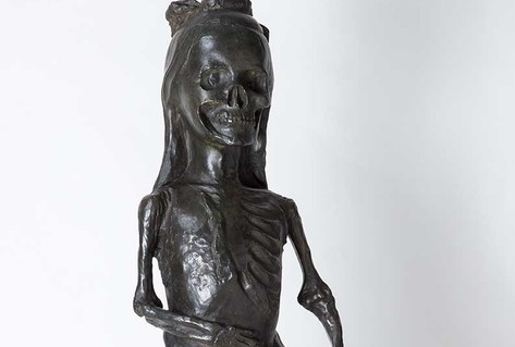 Bronze sculpture skelton in dress