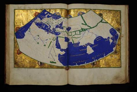Světová mapa v geografické poloze Ptolemy Ilustrovaný rukopis 1454