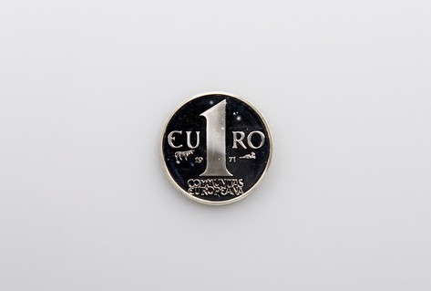 Front design metal mock Euro coin 1960s