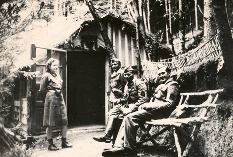 Partisan soldiers smiling in forest Yugoslavia