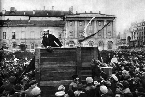 Black white photograph Lenin passionate speech to crowd