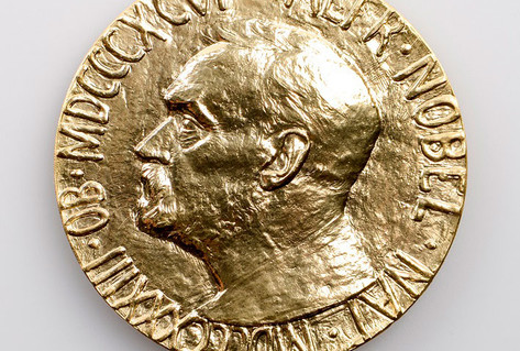 Golden Nobel peace prize medal image Alfred Nobel