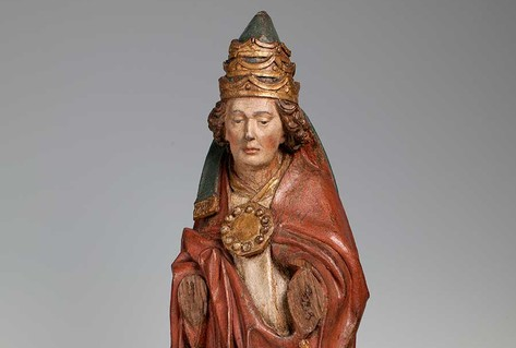 Carved figure of Pope from late 15th century