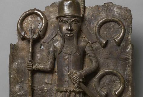 Metal plaque Portuguese slave-trader