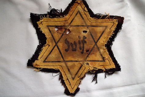 Yellow fabric Jewish star