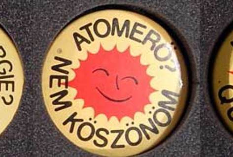 Yellow anti-nuclear badge from Hungary