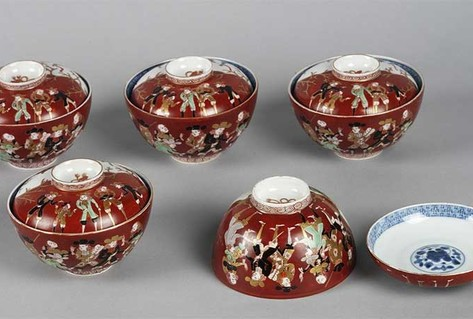 Red bowls with Japanese style design