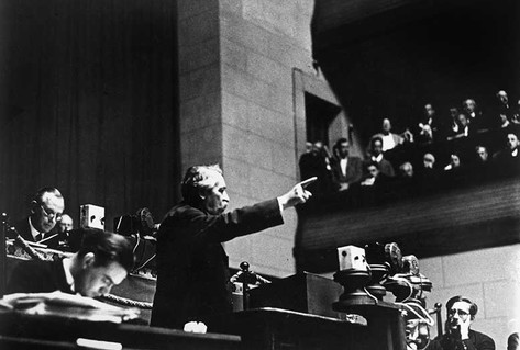 Black white photograph Aristide Briand orating