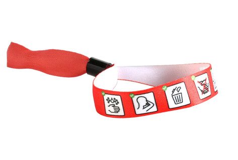 Red bracelet with pictogrammes for hygiene measures