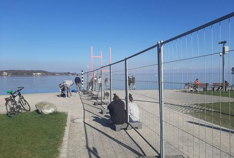Border fence between the German city of Konstanz and Swiss Kreuzlingen. March-May 2020.