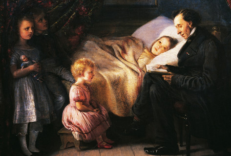 Painting Hans Christian Andersen reading to the painter's children Elisabeth Jerichau Baumann