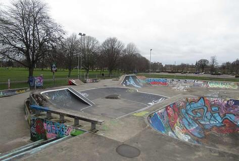 Empty skate park with graffiti