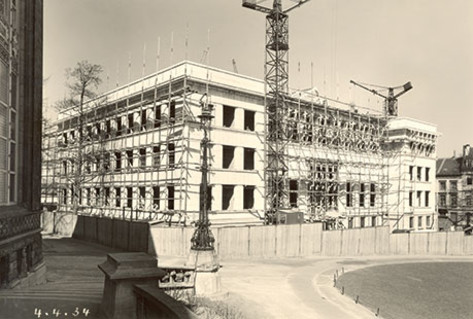 Photo of original construction of Eastman building