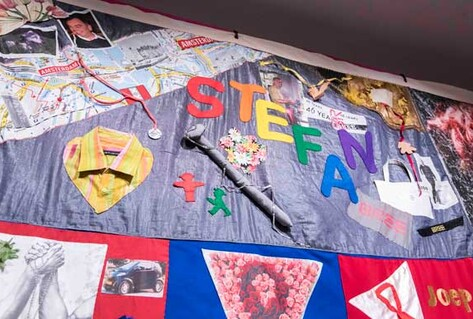 Embroidered colourful quilt for victims of AIDS