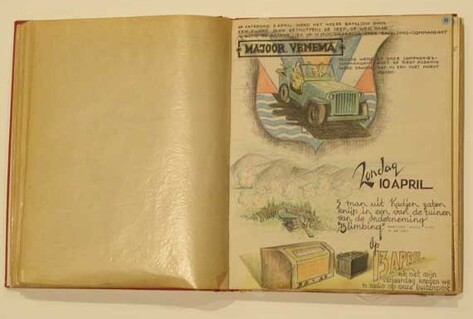 Open book with illustrations from war time