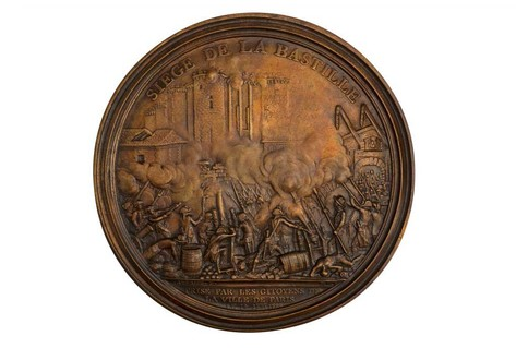 Enlarged medal in cast bronze depicting Storming of Bastille
