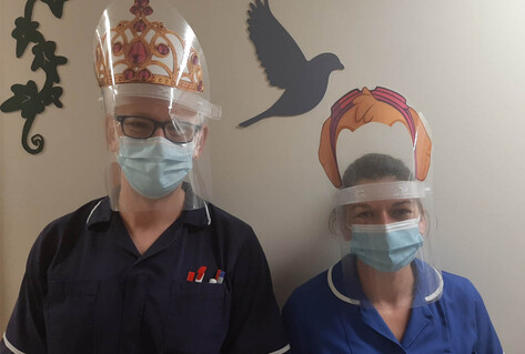 Nurses on the Children's ward with decorated visors