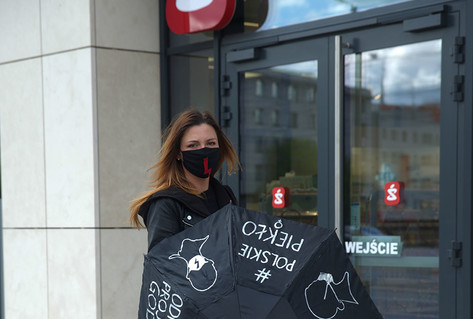 Magda Górecka protesting in Szczecin on April 14th, 2020 against the anti-abortion law.