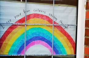 I see your true colours shining through' rainbow banner made by Smaranda (9 years old) and hung in her street window in Bournemouth, UK on April 3rd, 2020. To be donated to the House of European History when 'all this is over'.