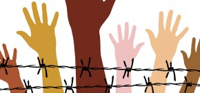 Animation hands raised over barbed wire