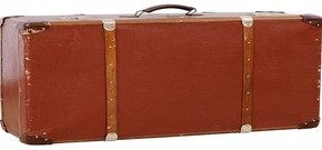 Brown suitcase representing travel across borders