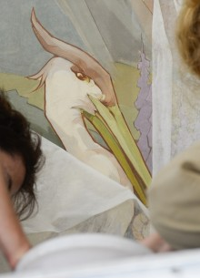 Artists restoring murals in the Camille Barthélémy room