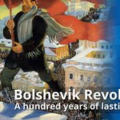 Painting of Bolshevik porker carrying flag