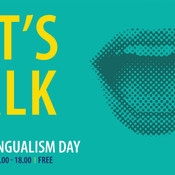Poster in green saying Let's Talk with image of mouth