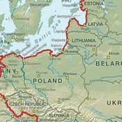 Map of trail through central Europe