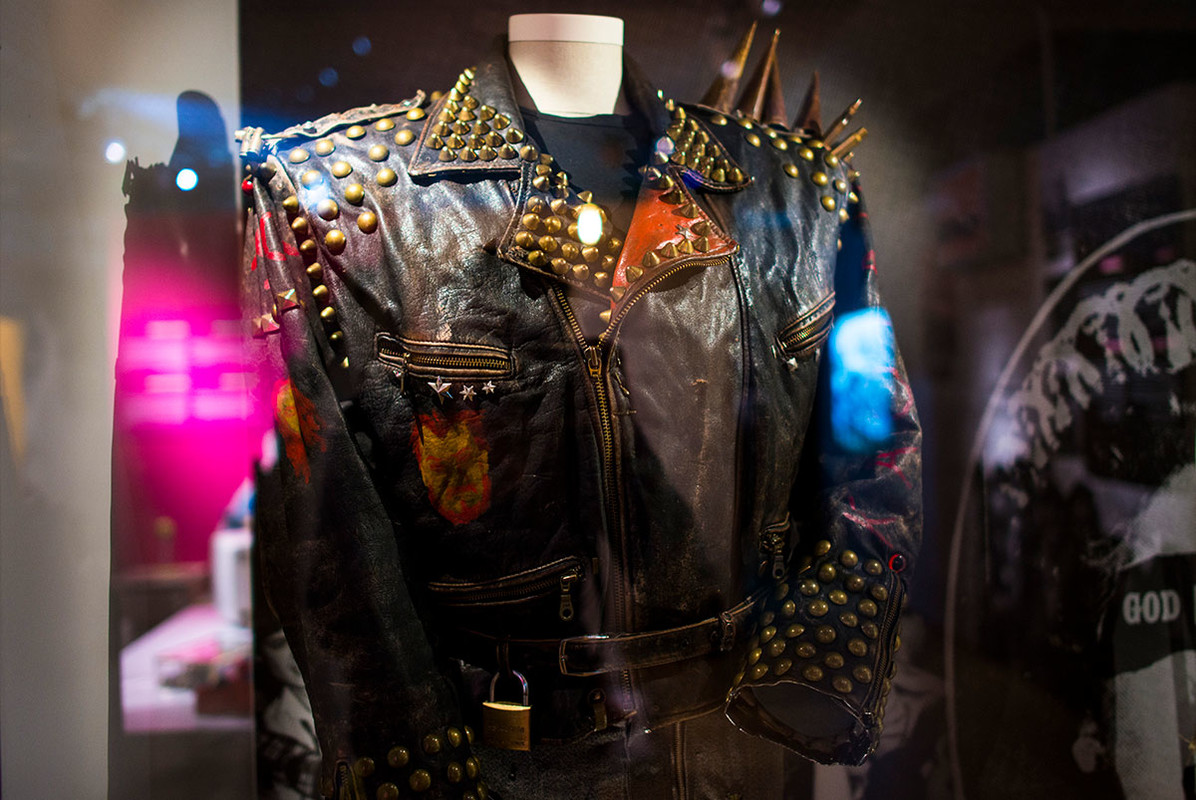 Black leather jacket with spikes in showcase