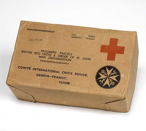 Red cross parcel cardboard for prisoner