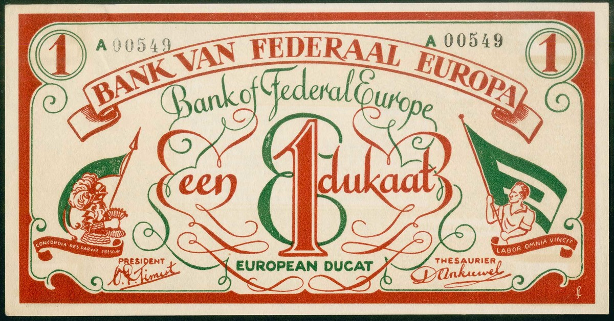 Colourful proposed design of European banknote 1940s