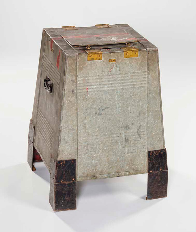 Grey metal ballot box