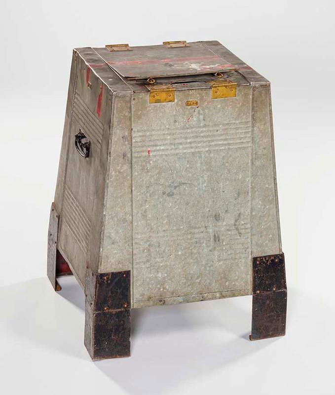 Grey metal ballot box