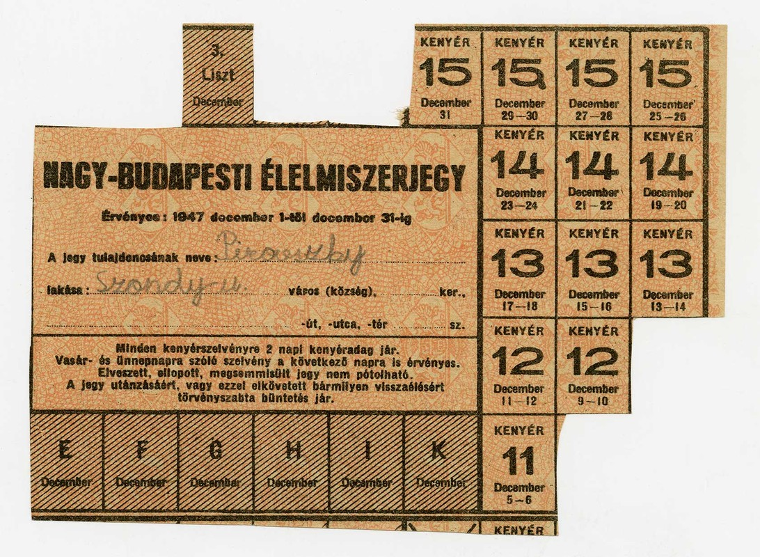 Used ration cards Hungary with pieces missing