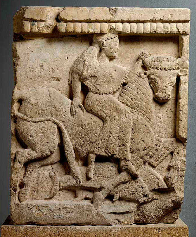 TStone carving of Europa riding the bull From temple Y, Selinunte Sicily