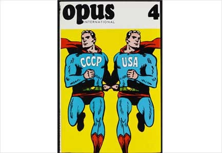 Cartoon poster superman CCCP USA