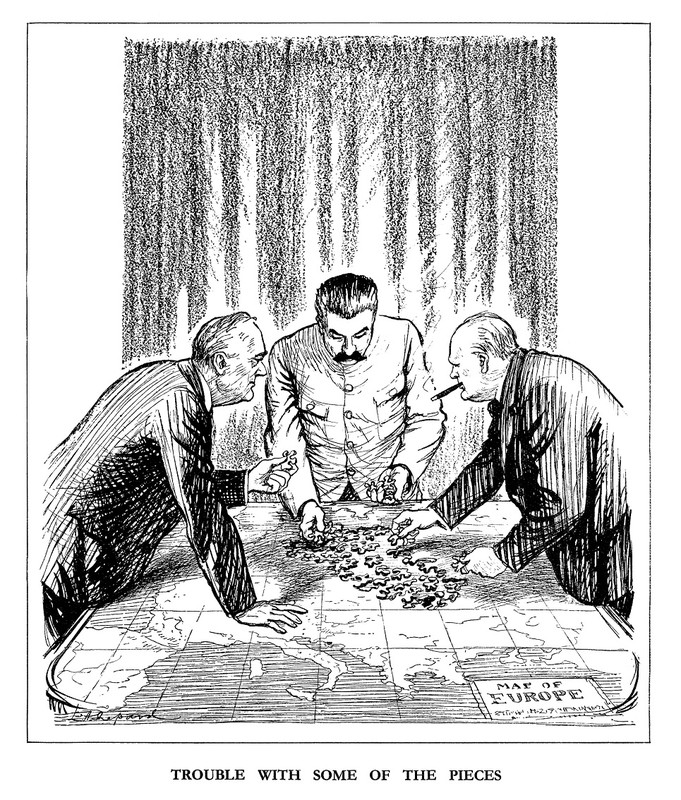 Cartoon allied leaders carving Europe