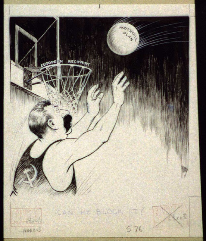 Cartoon Stalin basketball blocking ball