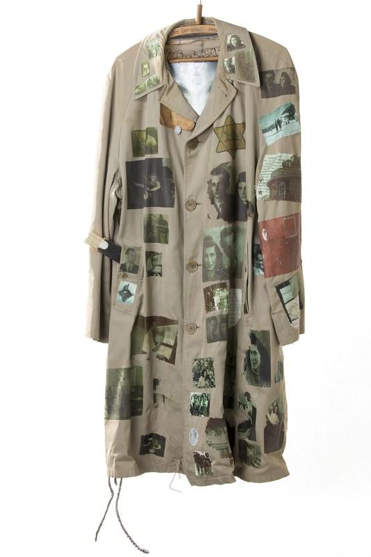 Long grey coat attached Jewish badges paraphernalia