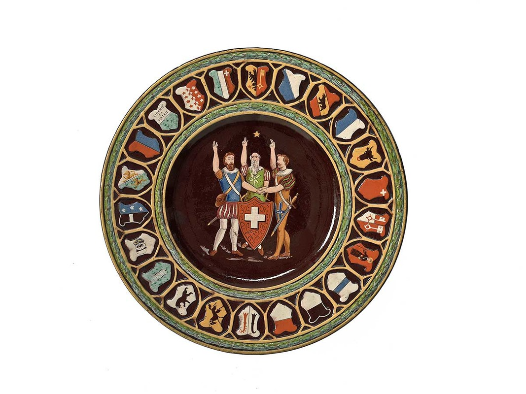 Ceramic plate depicting Legendary oath of the Swiss Confederacy Switzerland